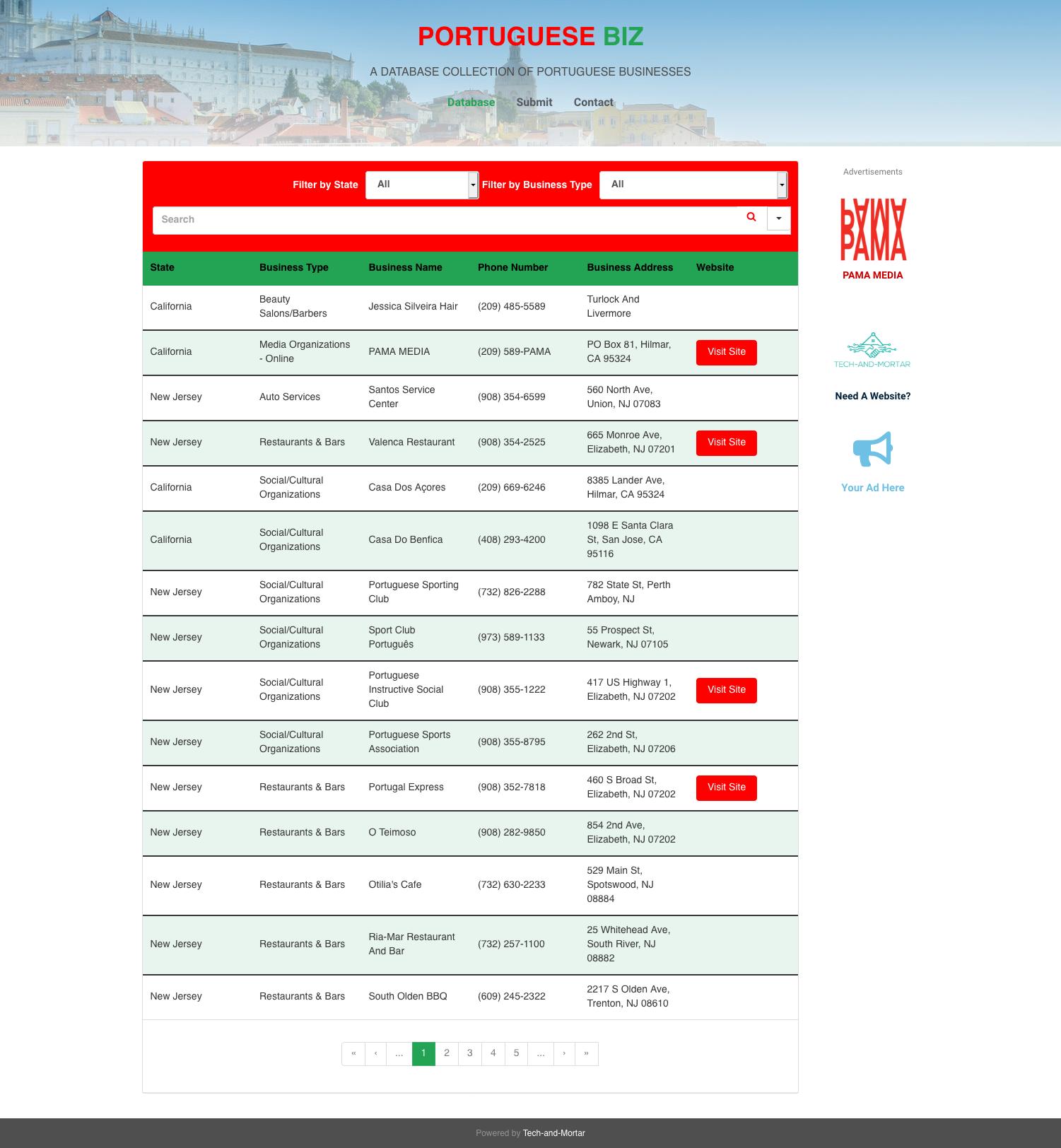 Screenshot of website www.portuguesebiz.com
